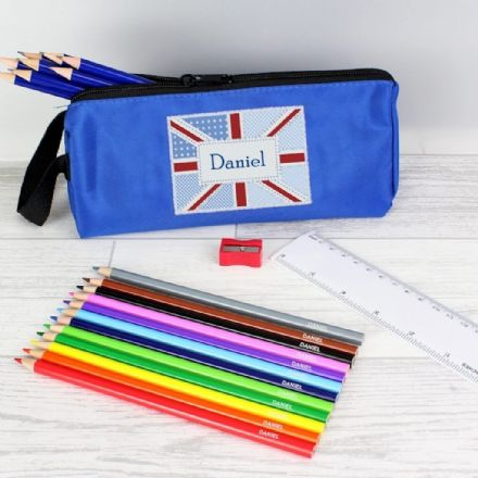 Blue Patchwork Union Jack Pencil Case & Personalised Contents